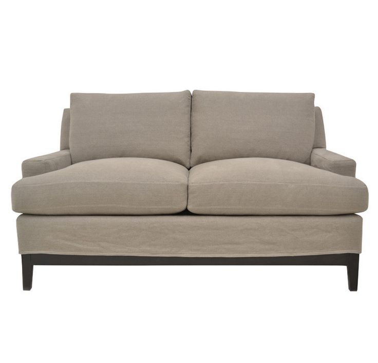 Quatrine Furniture   Manhattan Slipcovered Loveseat With Wood Base
