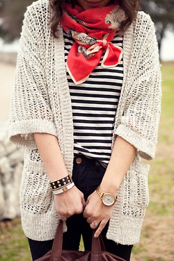 sweater, stripes and splash of color