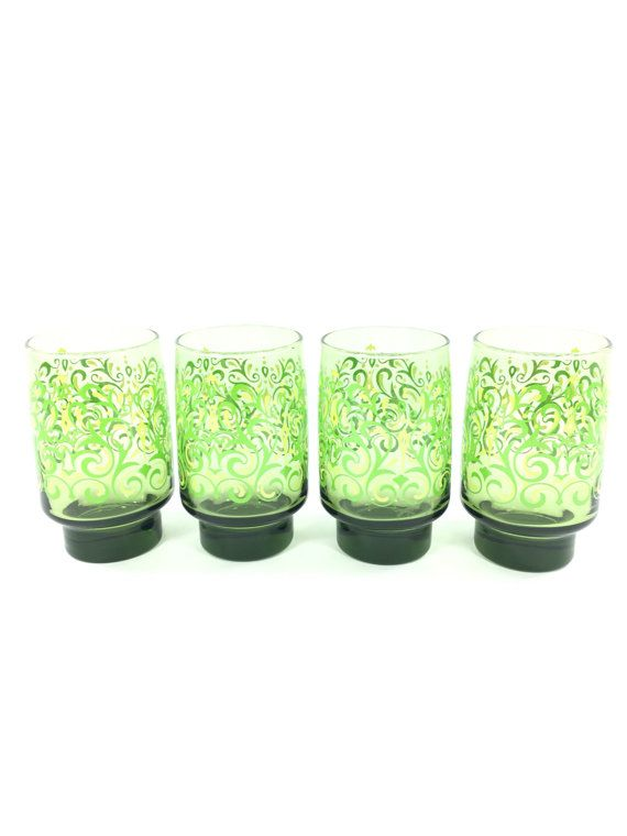 Lime Green Tumbler Set Green Drinking Glasses Green Libbey