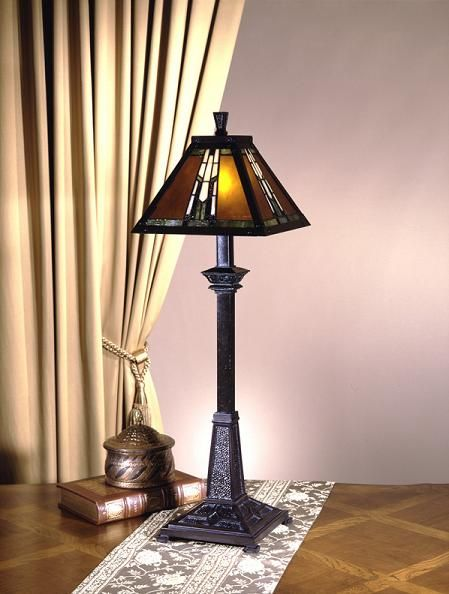 Dale tiffany lamps amber monarch buffet lamp in mica bronze