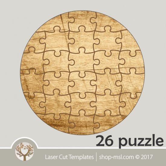 product 26 puzzle template laser cut round puzzle pattern single line cut design