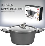 Blaumann 28cm Marble Coating Casserole ( Grey Granit Line & Soft Touch Handles )