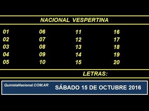 Quiniela - El Video oficial de la Quiniela Vespertina Nacional del día Sabado 15 de Octubre de 2016. Info: www.quinielanacional.com.ar