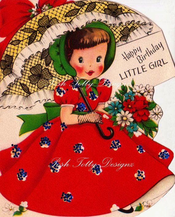 Vintage 1950s Happy Birthday Little Girl by poshtottydesignz, $2.50