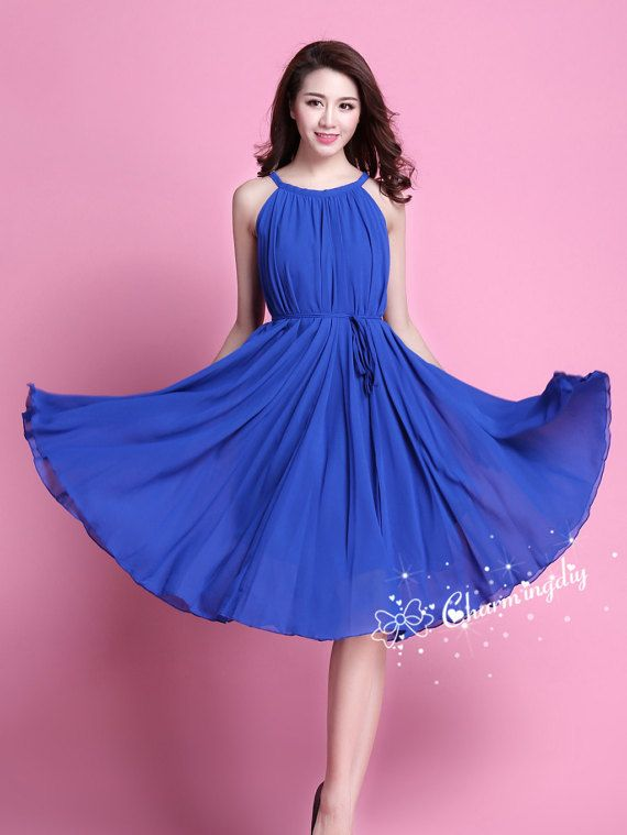 29 Colors Chiffon Blue Knee Skirt Party Dress by CHARMINGDIY