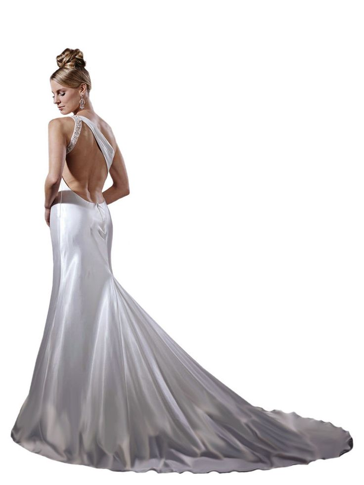Wedding Dress by Dere Kiang by House of Wu 11152. Simple mermaid gown with one shoulder. Beaded strap detail at back. Low Back and mermaid skirt with train. Zipper closure. Charmeuse satin.