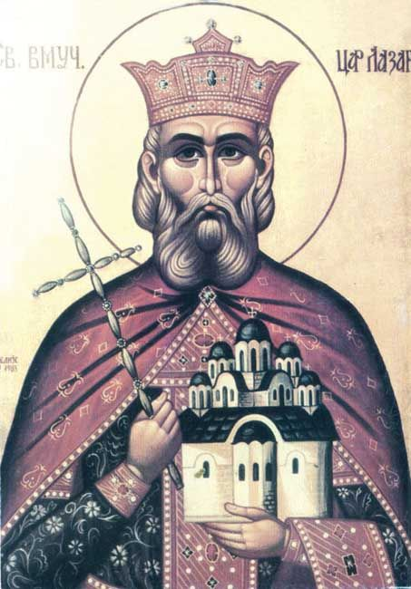 St. Lazar Prince of Serbia and Martyr (Feast day - 15th June). Prince Lazar Hrebeljanović (ca. 1329 – 15 June 1389) was a medieval Serbian ruler, who created the largest and most powerful state on the territory of the disintegrated Serbian Empire. In the Battle of Kosovo fought on 15 June 1389, Lazar led the army which confronted a massive invading army of the Ottoman Empire commanded by Sultan Murad I. Both Prince and Sultan lost their lives in the battle. ).