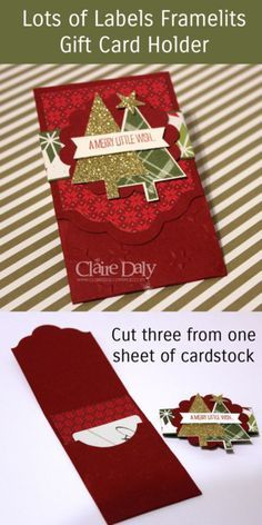 Gift card holder using Stampin Up Lots of Joy stamp set and Lots of Labels Framelits. Step by step instructions to cut 3 from a sheet of cardstock. Claire Daly. Stampin' Up! Demo Australia.