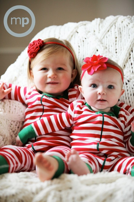 Megan Petersen Photography | sisters christmas card in stripes