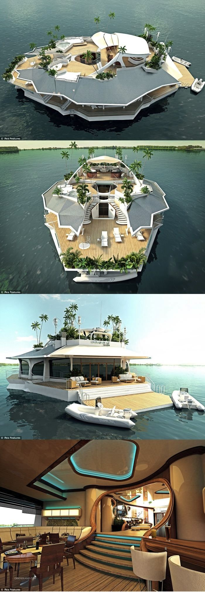 Floating Island Boat. #boats #coolboats Check out cool boating videos here: https://www.youtube.com/user/boatshowavenue/videos