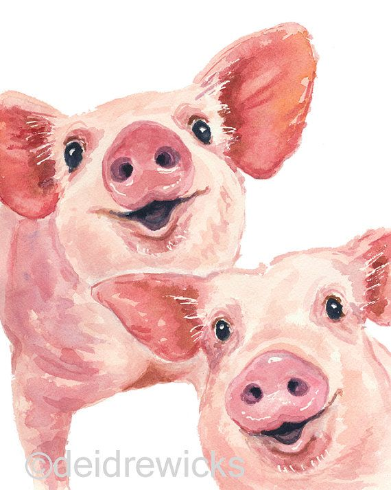 Pig Watercolor - 8x10 PRINT, Pig Illustration, Nursery Art, Happy Pigs, Animal Watercolour