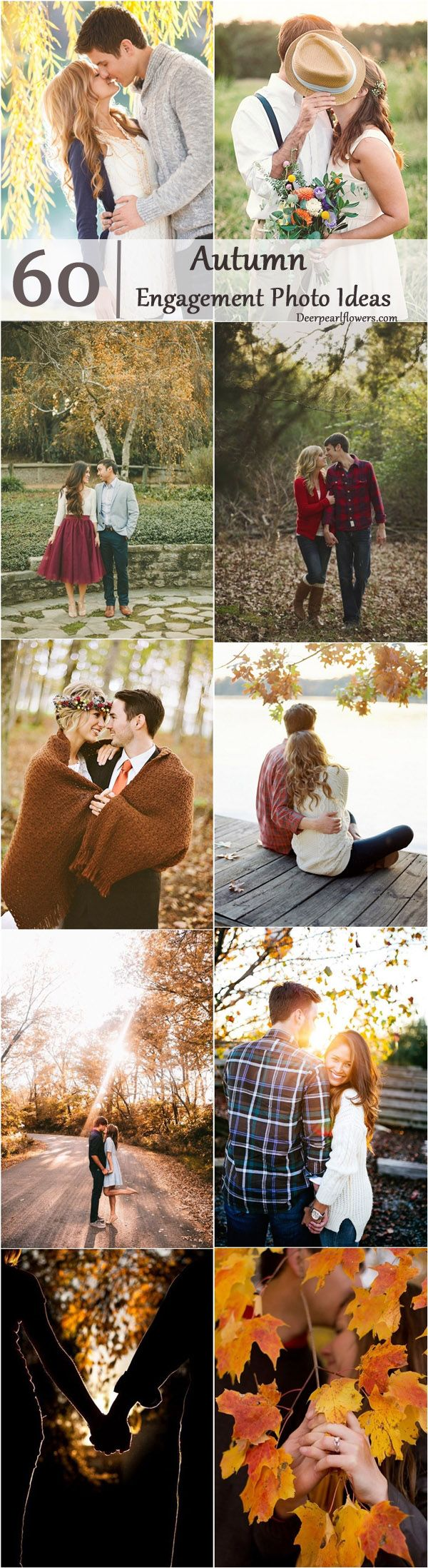 Fall Engagement Photo Poses Ideas / http://www.deerpearlflowers.com/fall-engagement-photo-ideas/3/
