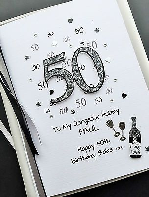 50th BIRTHDAY CARD FOR MEN DAD HUSBAND SON Personalised Handmade Gift Boxed