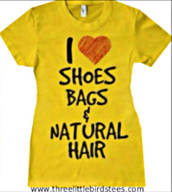 I heart shoe bags & natural hair tshirt on Etsy, $22.95