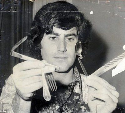 Uri Geller is an Israeli illusionist, magician, television personality, and self-proclaimed psychic. He is known for his trademark television performances of spoon bending and other illusions.