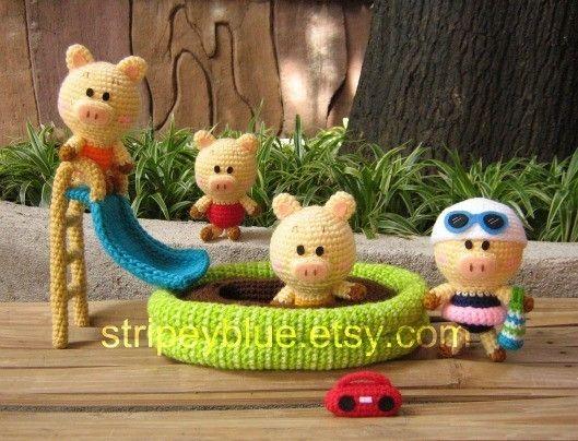 How cute is this?? Piggy's Pool - PDF Crochet - Amigurumi Pattern.