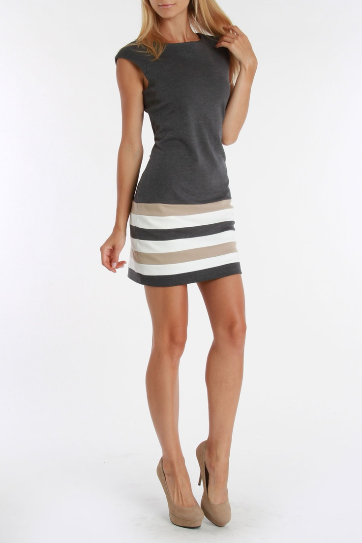 Sandra Darren Ashley Ponte Dress In Dark Charcoal And Ivy. Love this,