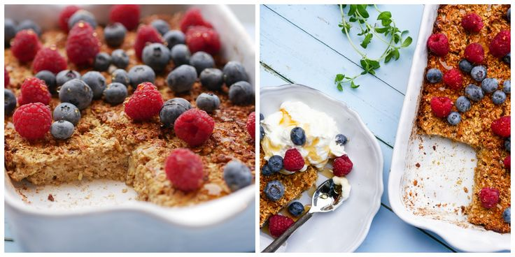 Baked oats with cinnamon and aple
