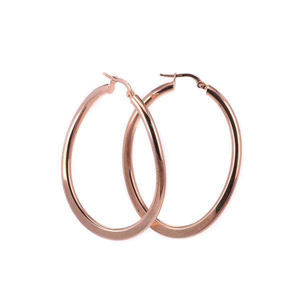 Σκουλαρίκια κρίκοι ροζ  χρυσό Κ14 -7230