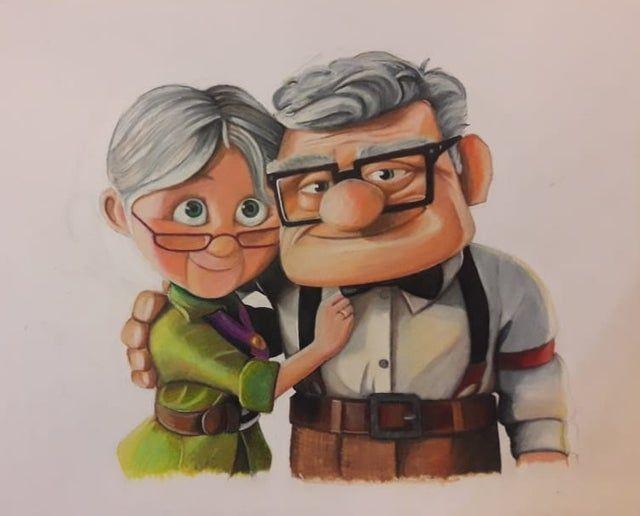 Ellie And Carl Painted By A Friend Disney En 2020 Dibujo