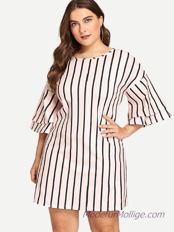 Gestreiftes Kleid mit Lagenärmeln Große Größe Outfit Ideen für den Sommer – Mode für Mollige Frauen Stil | Mode für Mollige Frauen – #GroßenGr…