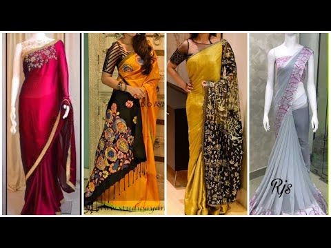b6ed67619feb7 Latest party wear designer saree collections  designer wedding sarees 2018  blouse  designs - YouTube