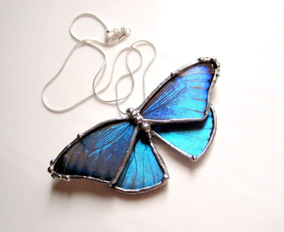 WANT!!!! This Real Blue Morpho Butterfly on an 18inch Sterling Silver Necklace