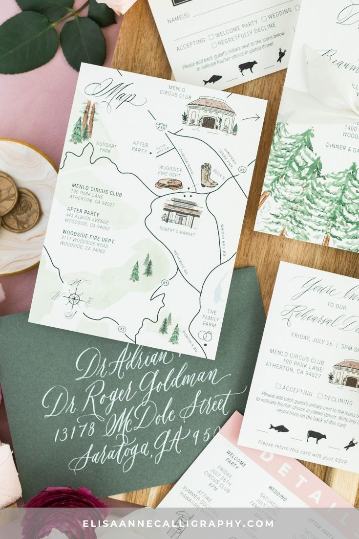 Details Included A Custom Watercolor Wedding Map Watercolor Tree