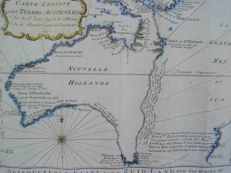 Captain Cook's Map of Australia, on which he landed with his crew during their first expedition in 1770. After investigating Tasmania, they were blown onto the lush, east coast of the continent and Cook claimed it New South Wales. In 1786, it would be established as a British penal colony.