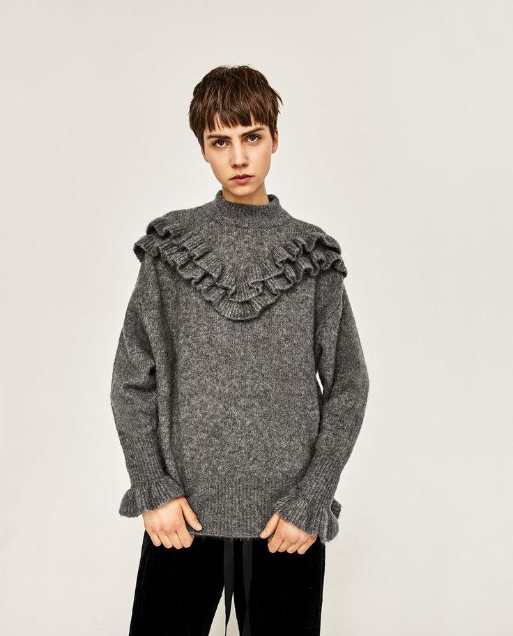 ZARA - DAMEN - Pullover mit Rüschen