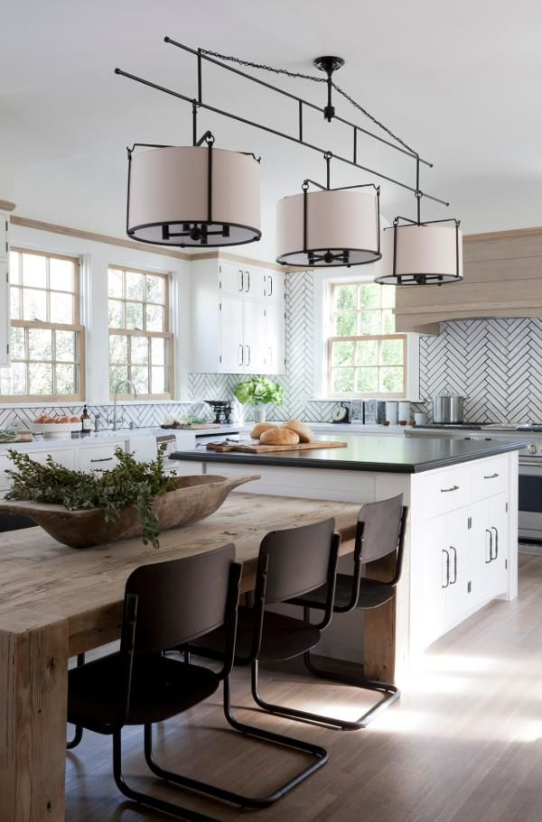 25 best ideas about kitchen island table on pinterest for Modern kitchen table lighting