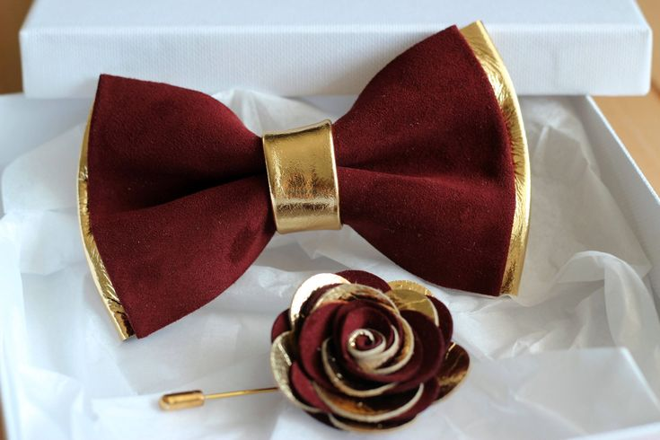 Gold and burugndy genuine leather bow tie for men, gold wedding bow tie,wedding boutonnere, burgundy leahther todler bow tie, boys bow tie by NevesticaLeather on Etsy