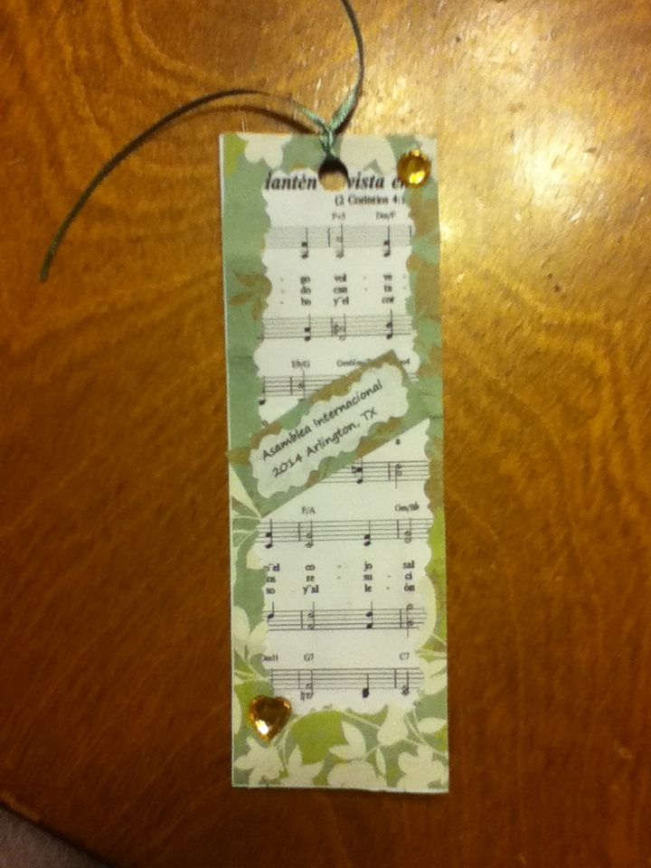Bookmarks for the international convention. I made it with scrapbook paper, a printout from jw.org, ribbon, and craft jewels.