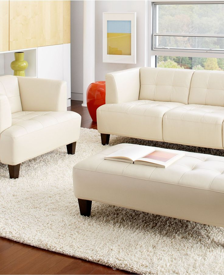 Alessia Leather Sofa Living Room Furniture Sets & Pieces ...