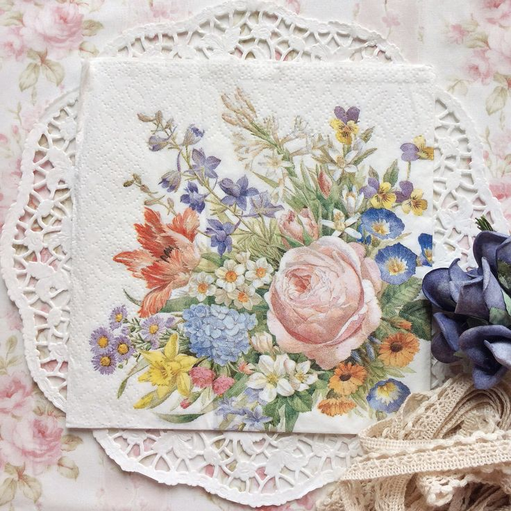 Napkin Papers Serviettens Decoupage Tissue  Rose Sweddish Bouquet 33x33 cm (1/4 folded)  IDR 15.000/pc Send me your inquiry to yufihandcrafted@gmail.com   Shabby Chic Victorian Cottage Vintage Retro Rose Floral Flower Paper Napkins   And get a special discount on bulk order!