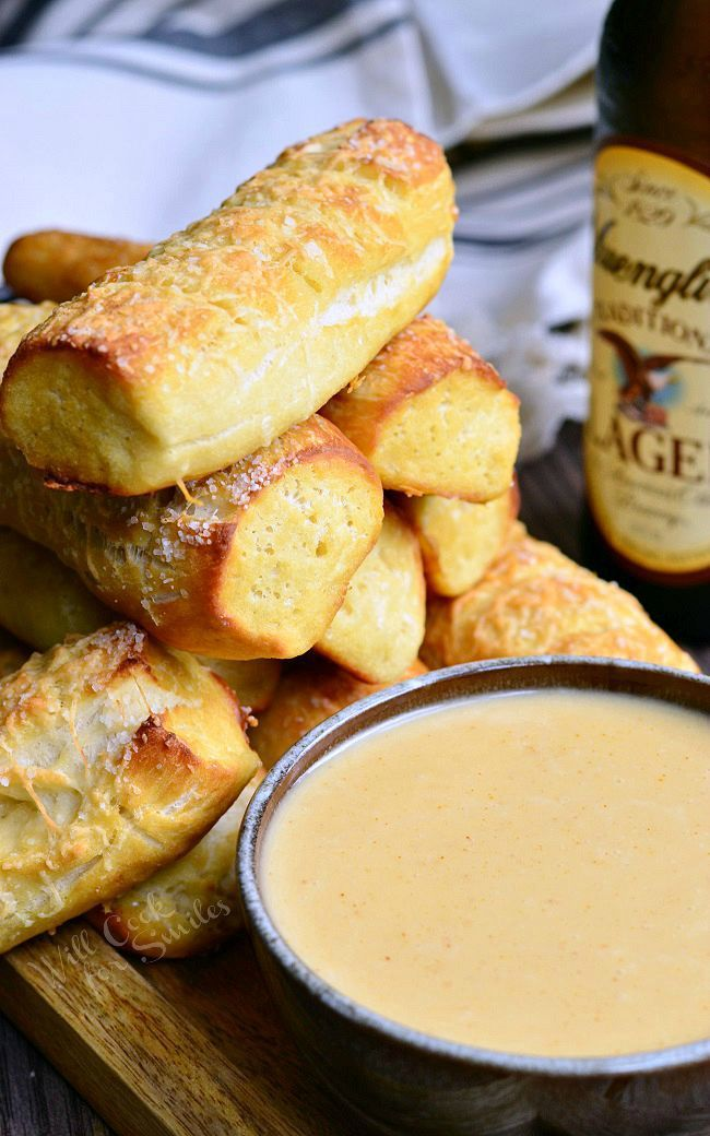 Homemade Parmesan Soft Pretzel Sticks with Beer Cheese Sauce 1 from willcookforsmiles.com