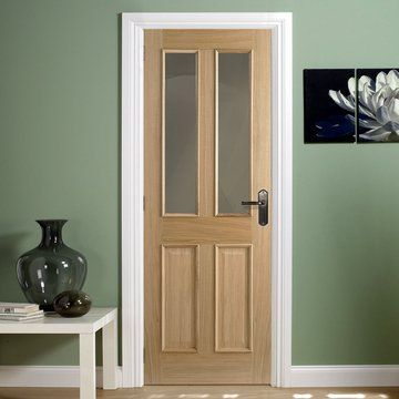 Richmond Oak 1/2 Hour Fire Rated Door with Raised Mouldings to both sides and Clear Fire Rated Glass
