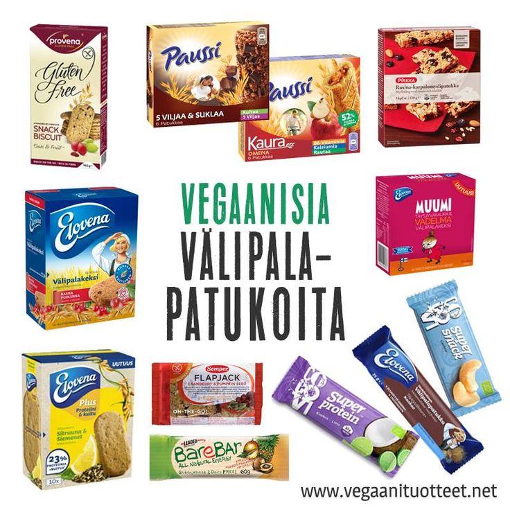 Vegaanisten välipalapatukoiden lista: http://www.vegaanituotteet.net/perusruuat/valipalat Proteiinipatukoiden lista: http://www.vegaanituotteet.net/lisaravinteet-vitamiinit/proteiinilisat-patukat