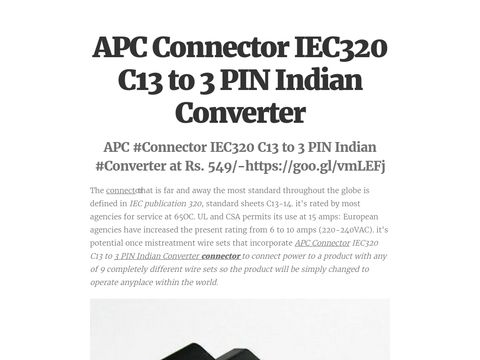 APC Connector IEC320 C13 to 3 PIN Indian Converter