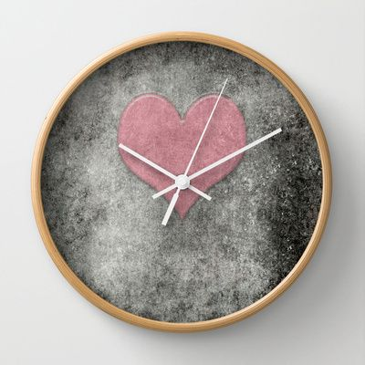 Valentines Grunge Love in Opal Pink Wall Clock by Bruce Stanfield - $30.00