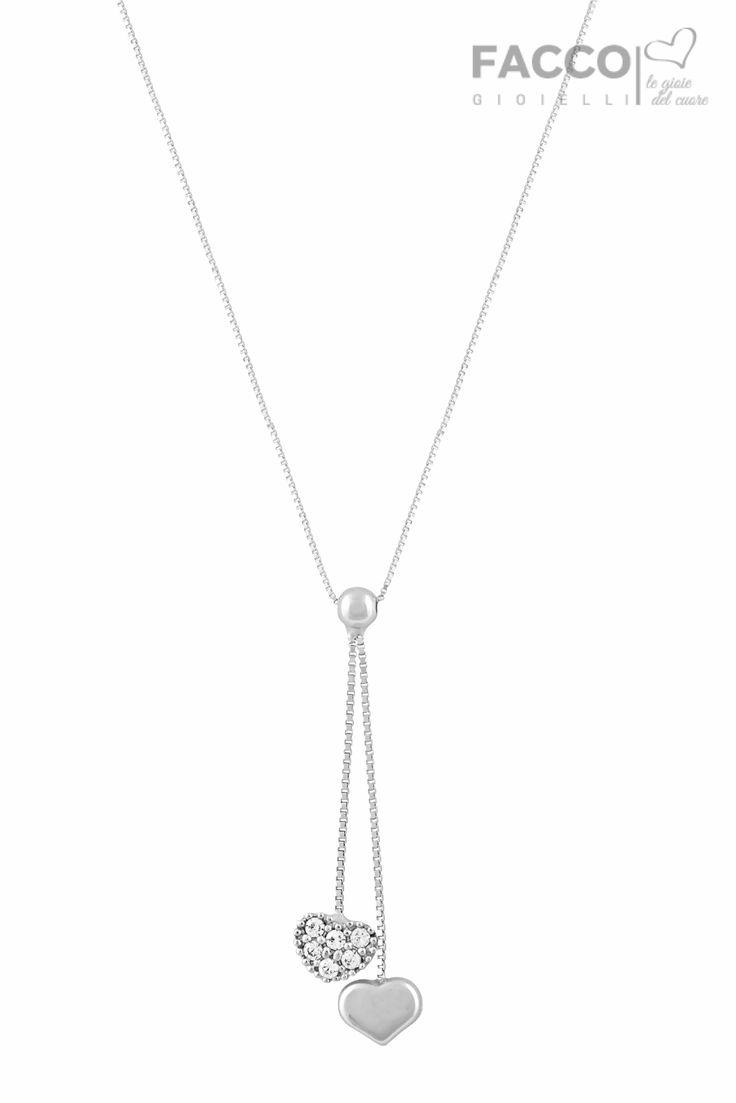 Collana donna, Facco Gioielli, in oro bianco 750‰, due pendenti con cuore di cui uno con pavè di zirconi.
