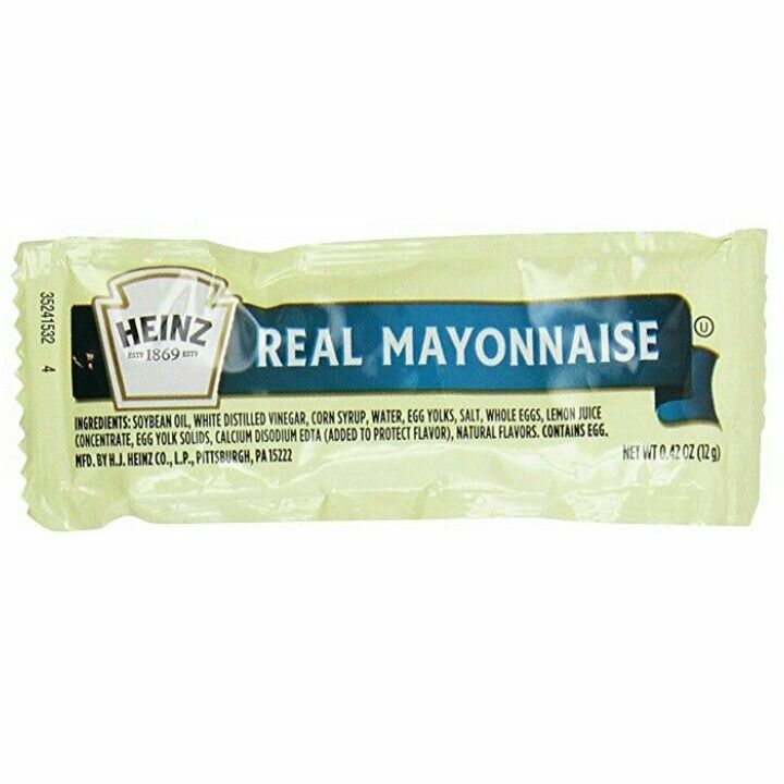 Heinz Mayonnaise delivers great taste from a trusted brand. Perfect as an ingredient or simply served on its own. - Pack of 24, 0.42-ounce each - Delivers great taste from a trusted brand - Perfect as an ingredient or simply served on its own