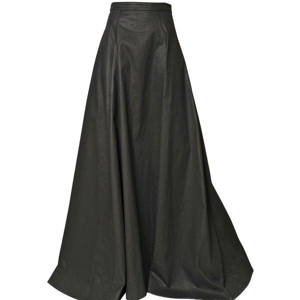 GARETH PUGH Light Waxed Cotton Long Skirt ($1,254) ❤ liked on Polyvore featuring skirts, bottoms, saias, long skirts, black, gareth pugh, floor length skirt, black skirt and ankle length black skirt