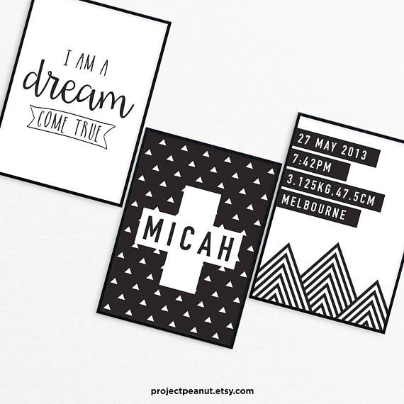 """Birth Announcement - Monochrome Wall Art - Nursery Decor - Baby Wall Art - Black and White - Triangle - Birth Stats - Newborn Quote  PLEASE NOTE:  + You are purchasing a digital file only.  + NO PRINTED MATERIALS ARE INCLUDED!  + There are NO REFUNDS as this is a digital product.  + A reminder that this is a DIGITAL PRODUCT.  WHAT DO YOU GET? A set of three 11x14 inch digital printable artworks  HOW TO ORDER  1. Purchase the digital file.  2. Leave in the """"message to seller"""":  -- name of…"""