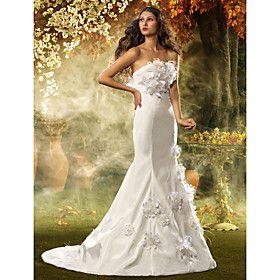 Trumpet/Mermaid Strapless Court Train Taffeta Wedding Dress - BleuVous.com
