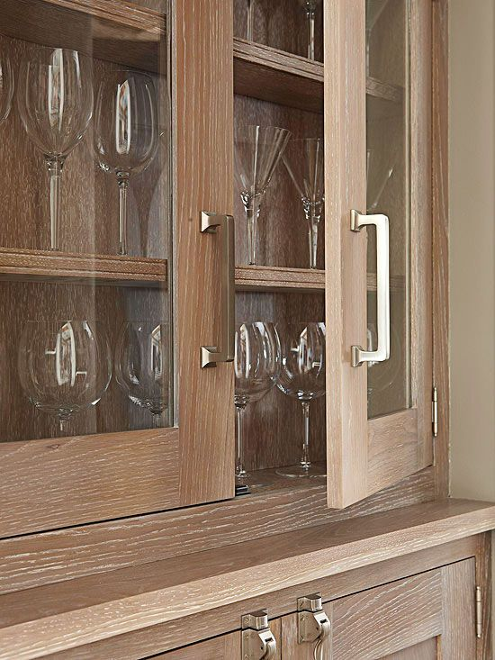 The larger the handle, the easier it is for people with arthritis or other mobility issues to grab it. D-shape door and drawer pulls are the most convenient for a wide range of people. If you have small children, outfit the handles on your lower cabinets with safety locks.