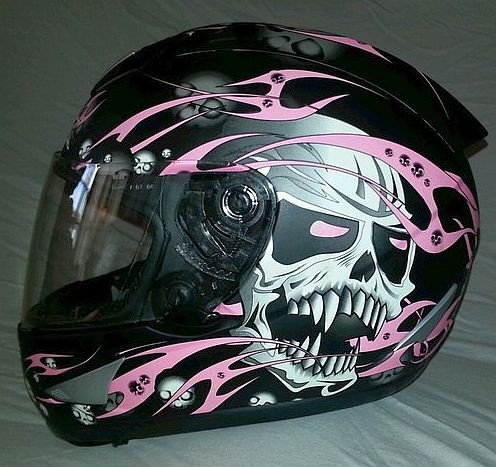 AFX Helmet  (Women's Used Motorcycle Helmets, Black w/ Pink Skulls, Ladies Streetbike)