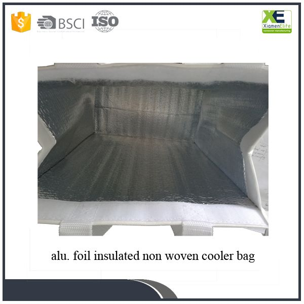 Webbing Handled Reusable Lunch Carrying Cheap Custom Alu Foil Insulated Non Woven Cooler Bag