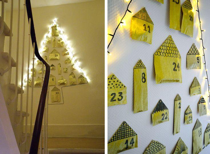 DIY advent calendar in gold crepon paper