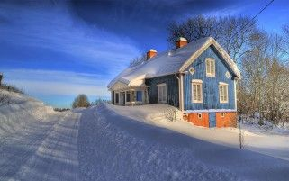 Deep Winter Blue House & Road wallpapers and stock photos